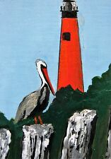 "A484  ORIGINAL ACRYLIC ART ACEO PAINTING BY LJH ""LIGHTHOUSE AT  PONCE INLET"""