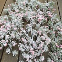 Frost 3 x Beeren Larix Zweige Stiele 46cm Pflanze Beerenzweig Rosa Geeist Ast