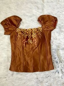 Cambodian/Khmer Silk Blouse brown/orange Size Small S