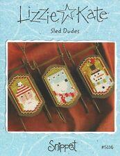 Lizzie Kate Three Sled Dudes Ornaments Cross Stitch Charts