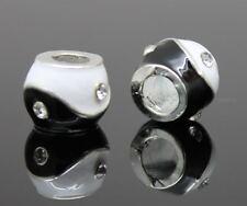 Blanco Negro Yin Yang Cristal europeo pulsera con dijes de abalorios Ying encantos collar
