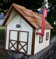 Amish Crafted Beige/Brown Trim Trim Barn Style Mailbox - Lancaster County PA