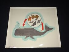 Sperm Whale & Animals Food Chain (?) Original Cartoon Art~Mid Century 1960s Vtg
