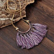 Tassel Necklace Women Fashion Jewelry Leather Rope Chain Silk Fabric Boho Choker