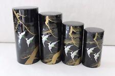 Ensemble de 4 boites japonaises emboîtables pour thé décor main