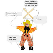 Kids Wooden Marionette Handcraft Pull String Puppet Clown Funny Doll toy Gift
