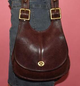 Authentic Vtg COACH Crescent Saddle Brown Leather Shoulder Bag Purse 4906
