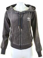 ADIDAS Womens Velvet Hoodie Sweater EU 46 XL Grey Cotton  U201