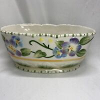 """Fitz and Floyd Classics Halcyon 8"""" Oval Vegetable Bowl Embossed Pansies Spring"""
