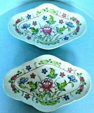 New listing Pair Chinese Export Famille Rose Serving Dishes Footed Oval China Plates C1900
