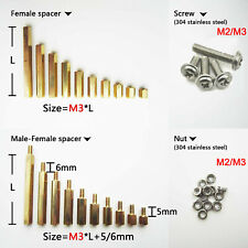 25/100X Brass M2 M3 Hex Bolts Column Standoff Support Spacer Screw Nut PCB Board