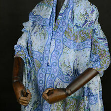Blue Vintage abstract print 60% silk 40% cotton blended fabric 11momme,SCT255