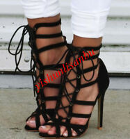 womens gladiator retro lace up stiletto open toe cut out sandals shoes beach new
