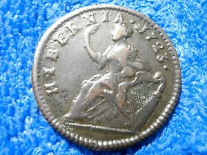 COLONIAL COIN: SCARCE GRADE WOODS HALF PENNY 1723 VERY FINE+!