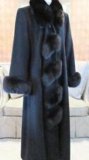Marvin Richards Size 12 Black Fox Fur Lambswool Long Dress Coat