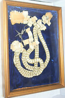 """Antique c1800's~~FRAMED RIBBON & RING CHATELAINE ~~IN 13"""" x 11"""" SHADOW BOX"""
