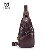 Men's Genuine Leather Casual Sling Chest Crossbody Shoulder Business Travel Bag