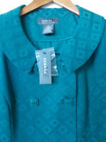 George Me by Mark Eisen Solid Teal Blue Jacquard Jacket Size 10 NWT