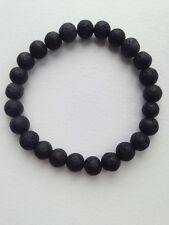Lava Stone Rock Bead Bracelet - Black Round Bead Stretch, Essential Oil Diffuser
