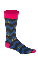 Corgi Blue and Pink Zig Zag & Bike Mens Socks - Creative - Large (10.5-12)