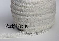 "5 YDS 1"" Premium Lace Stretch Floral Lingerie Garter Headband Elastic - Cream"