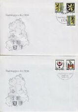 DDR FDC 2857 - 2861 auf 2 FDCs mit SST Berlin Wappen 1984, first day cover