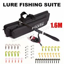 1.6M Telescopic Fishing Rod Set with Fish Reel Hook Lure Tackle Accessory Black