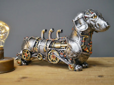 Steampunk Sausage Dog Dachshund Ornament Metallic Industrial Sculpture Home