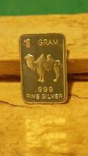 Carmen Camel. 1 gram. 999 silver barter fractional bullion bar