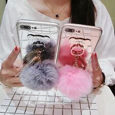 Cute Bear Ring Holder Stand Rabbit Fur Plush Ball Tassel Mirror Phone Case Cover