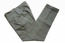 PT01 Trousers: 36 Washed beige plaid with blue stitching, flat front, cotton/nyl