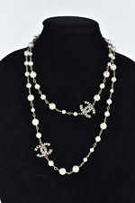 CHANEL PEARL LONG NECKLACE - CRYSTAL & PEARL CC CHARMS RHINESTONE 2015