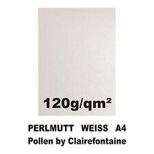 25 Blatt A4 Perlmutt Weiss Metallic Papier 120g Pollen by Clairefontaine Glitzer