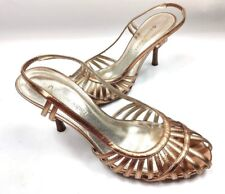 """Etienne Aigner Thrill Rose Gold Leather PeepToe Slingback 3 1/4"""" Heel Shoes Sz7M"""