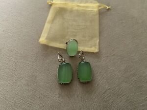 Silver Plated Earrings And Ring Set, Used