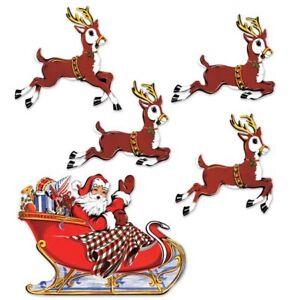 Vintage Christmas Santa & Sleigh Cutouts Party Supplies Decorations