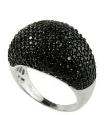 Black Spinel Micro-pave Dome Ring in 925 Sterling Silver, size 5