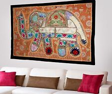 HANDMADE ELEPHANT BOHEMIAN PATCHWORK WALL HANGING EMBROIDERED TAPESTRY INDIA X79
