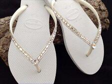 Havaianas Slim Wedding Flip Flops w/ Swarovski Crystal Bling Beach Bridal Shoes