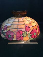 """Antique Art Nouveau Leaded Stained Glass Floral Shade,Tiffany,Handel Era 24.5"""""""