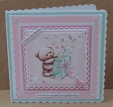 Personalised Large 8 x 8 Birthday Card Daughter Granddaughter 1st 2nd... & Verse