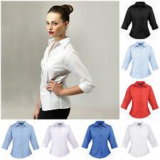 Ladies Womens Three Quarter ¾ Sleeve Blouse Top Business Shirt Work Size 6-26