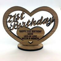 Personalised Wooden Freestanding Heart for 16th 30th 40th Birthday Gift Message.
