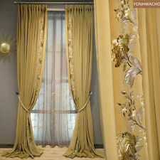 luxury yellow embroidered velvet thick cloth blackout curtain tulle panel C319