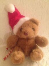 "Russ Vtg 8"" Sweetie Christmas Santa Hat Teddy Bear Candycane Plush Stuffed"