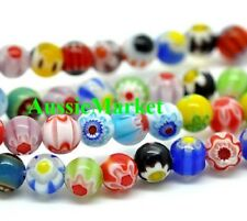100 x millefiori glass beads balls 5mm round spacer mixed colours lampwork loose