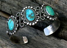 Fred Harvey Era Navajo Tooled Silver Twisted Wire Turquoise 3 Stone Bracelet