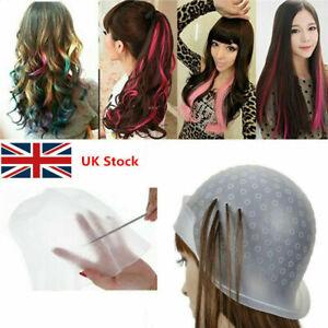 Professional Reusable Hair Coloring Magicap Rubber Cap Streaking with Hook Uk **