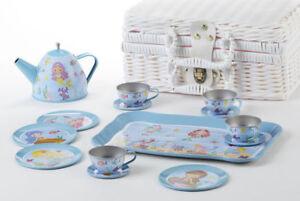 Children's 2019 Tin Tea Set for 4-Medium Size-15 pieces Mermaids Delton 8002-2