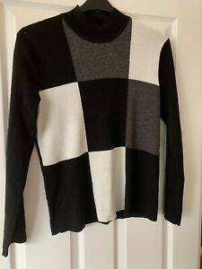 LADIES BLOCK MULTI SQUARE PATTERNED JUMPER TOP UK SIZE 14-16 GREAT CONDITION